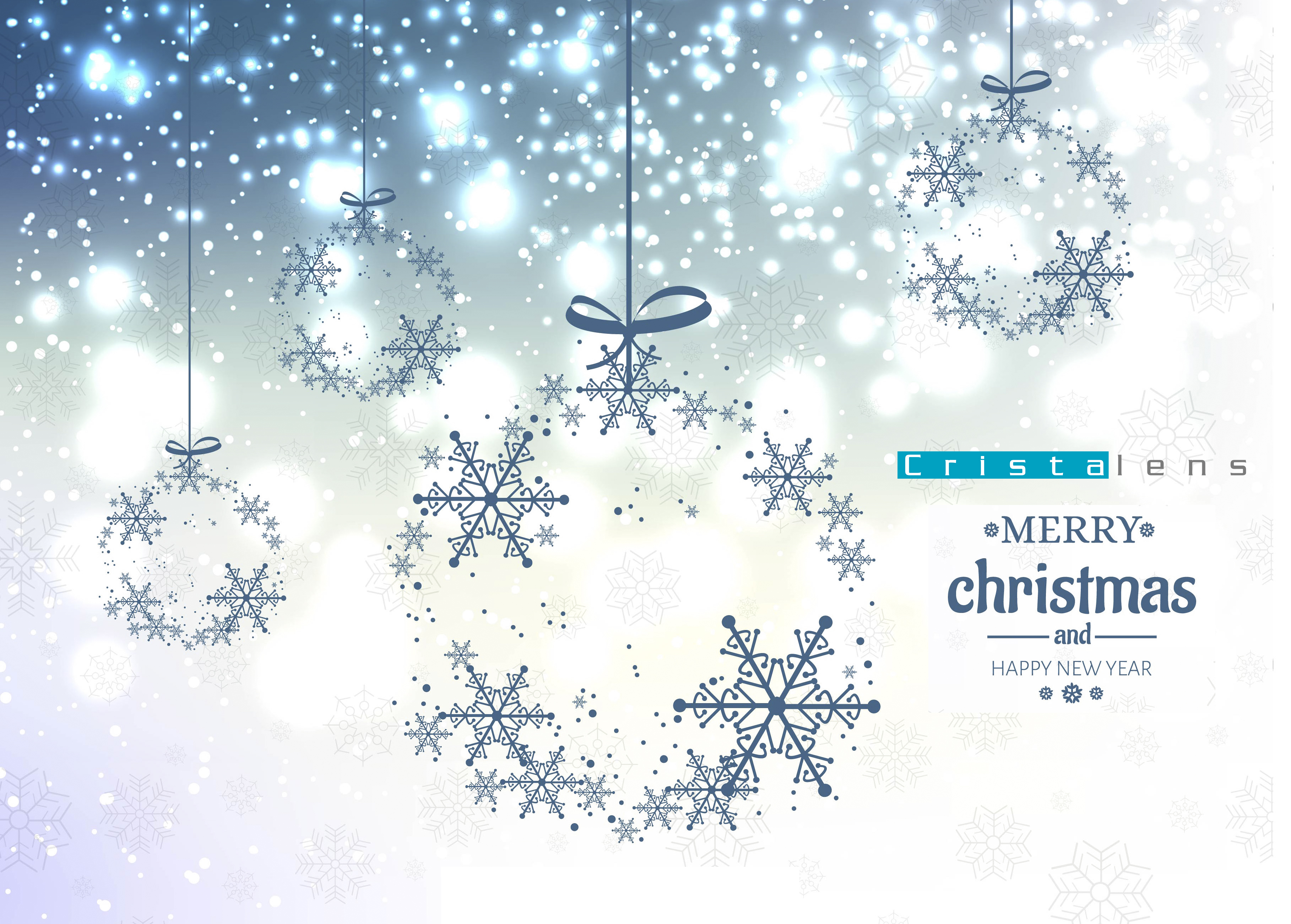 Elegant christmas blue glitter background with snowflakes